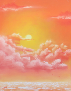 God's hand holds the warm sunshine in the orange and yellow glow of this oil painting