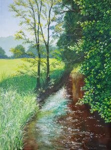 The sunlight sparkles off the river and the greenery shimmers in this stunning landscape oil painting