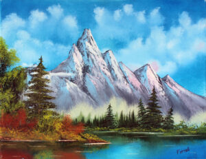 Original oil painting of the majesty of mountains, lakes, and evergreens fill this blue and colorful canvas