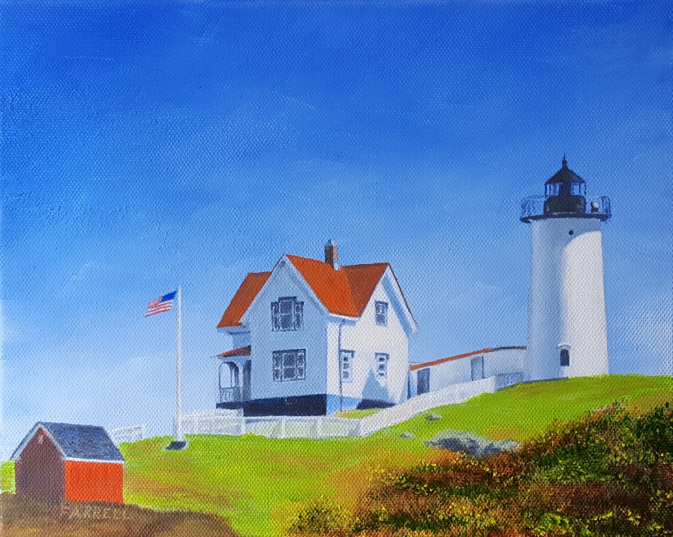 The Nubble Lighthouse in York, Maine is a very popular tourist destination in New England.